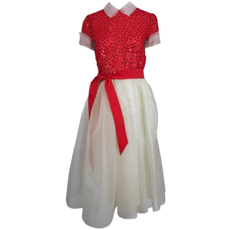 Bill Blass Red and White Sequined Organza Party Dress 1980s