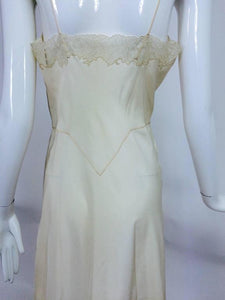 French Hand Made Embroidered Champagne Silk & Lace Slip 1950s