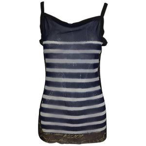HOLD Jean Paul Gaultier signed nautical stripe mesh tank top dated 2001-02