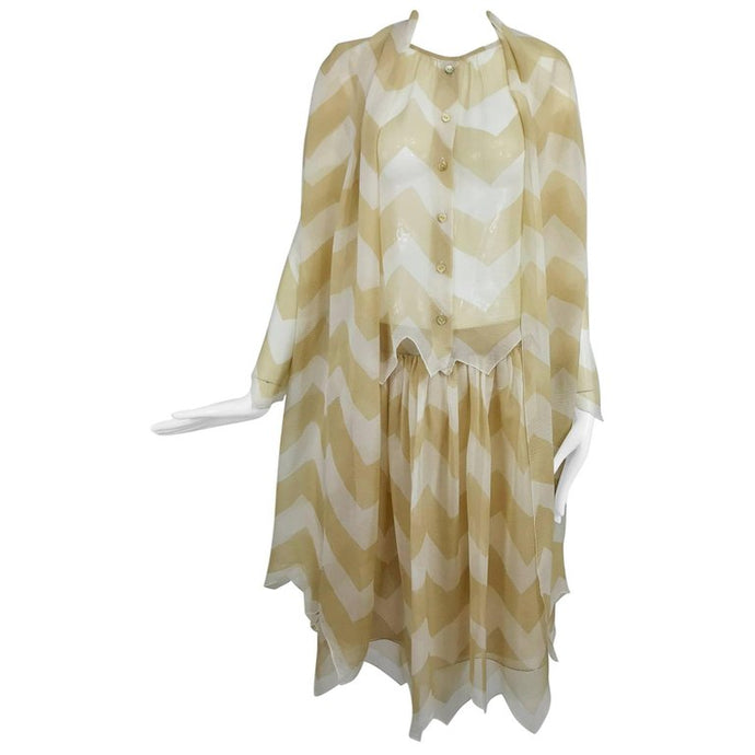 Chanel Tan Cream Zig Zag Silk Chiffon Blouse Skirt 2000A