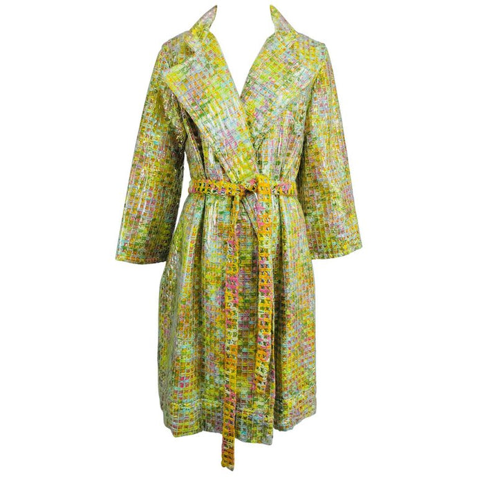 Vintage Clear Vinyl Covered Tweed Novelty Rain Coat 1960s