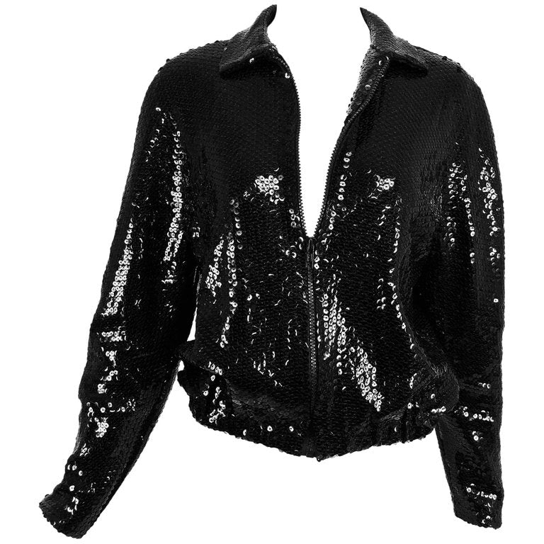SOLD  Halston black sequin zip front cropped jacket, 1970s