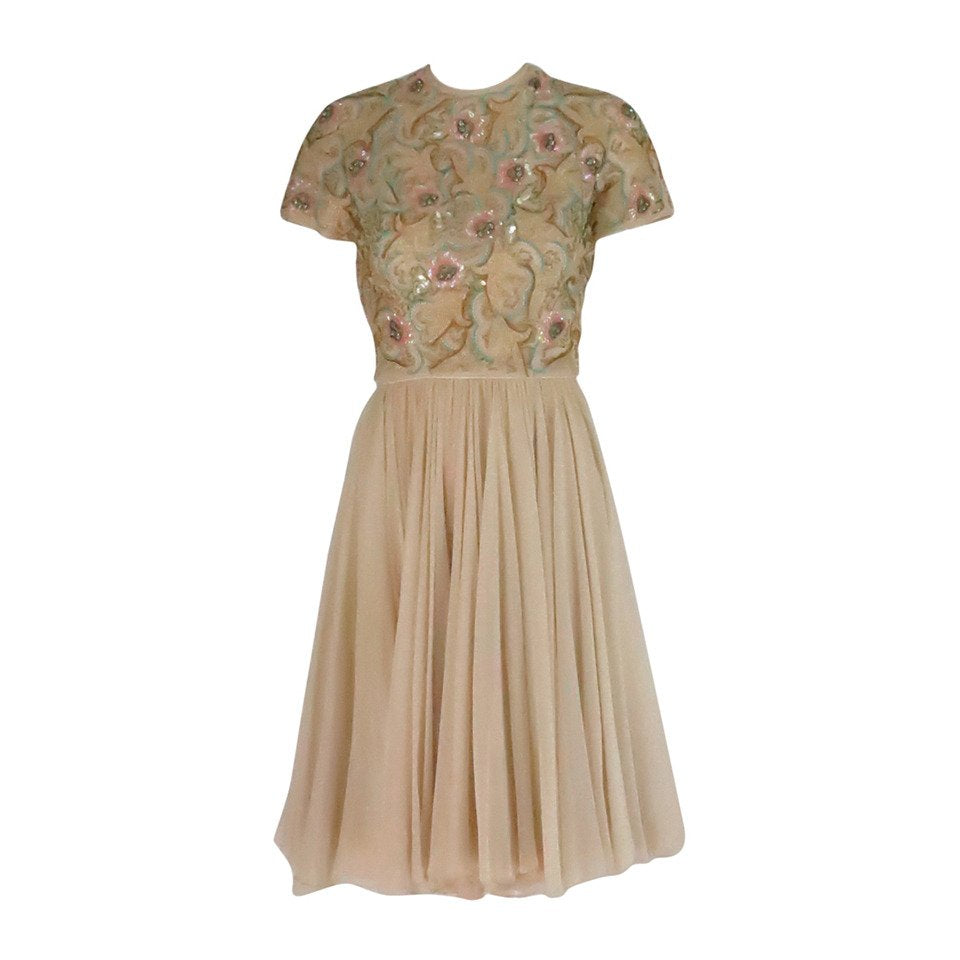 Vintage Beaded Applique Silk Chiffon Cocktail Dress 1960s