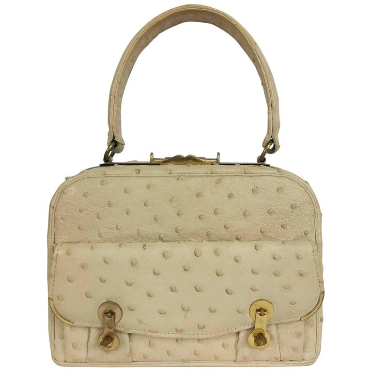 Vintage Cream Ostrich Leather Frame Gold Handbag, 1960s