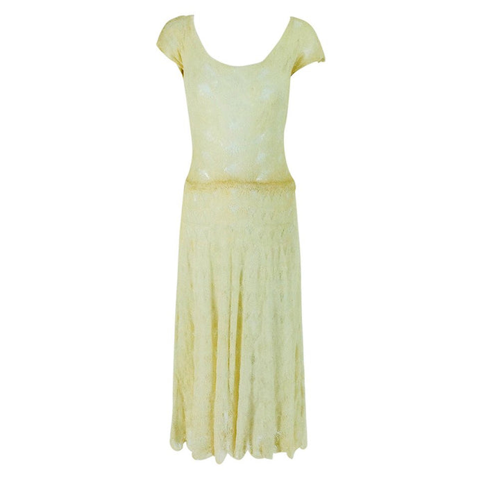 Vintage Adia Woolf 20 Grosvenor St Mayfair London Ivory Crochet Dress 1930s