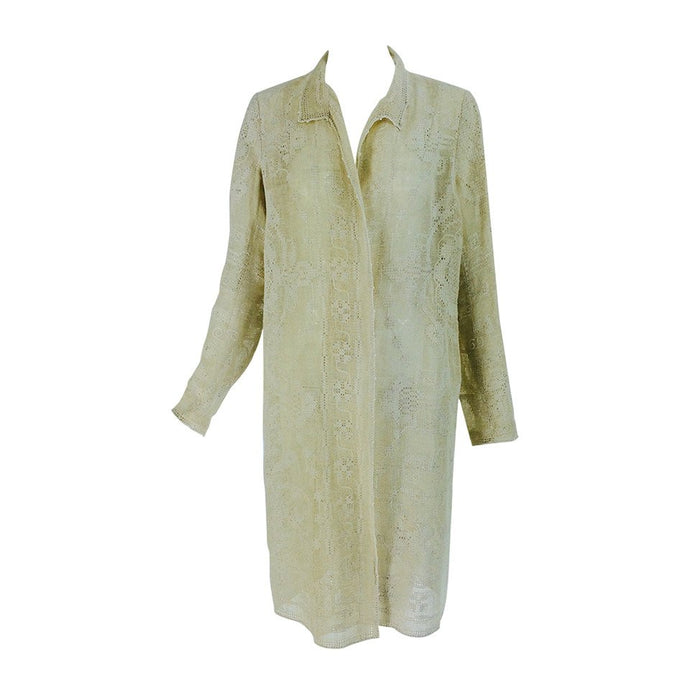 Ivory drawn/counted thread embroidered linen summer coat 1920s