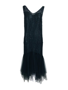 Vintage Black Lace and Tulle 1920s Flapper Dresss