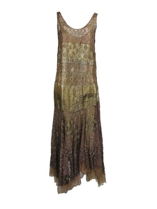 Vintage Gold & Pink Metallic Lace 1920s Dress and Slip