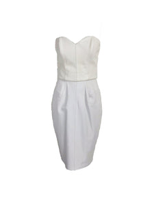 Vintage North Beach Leather Two Tone White Bustier & Skirt Set 1980s