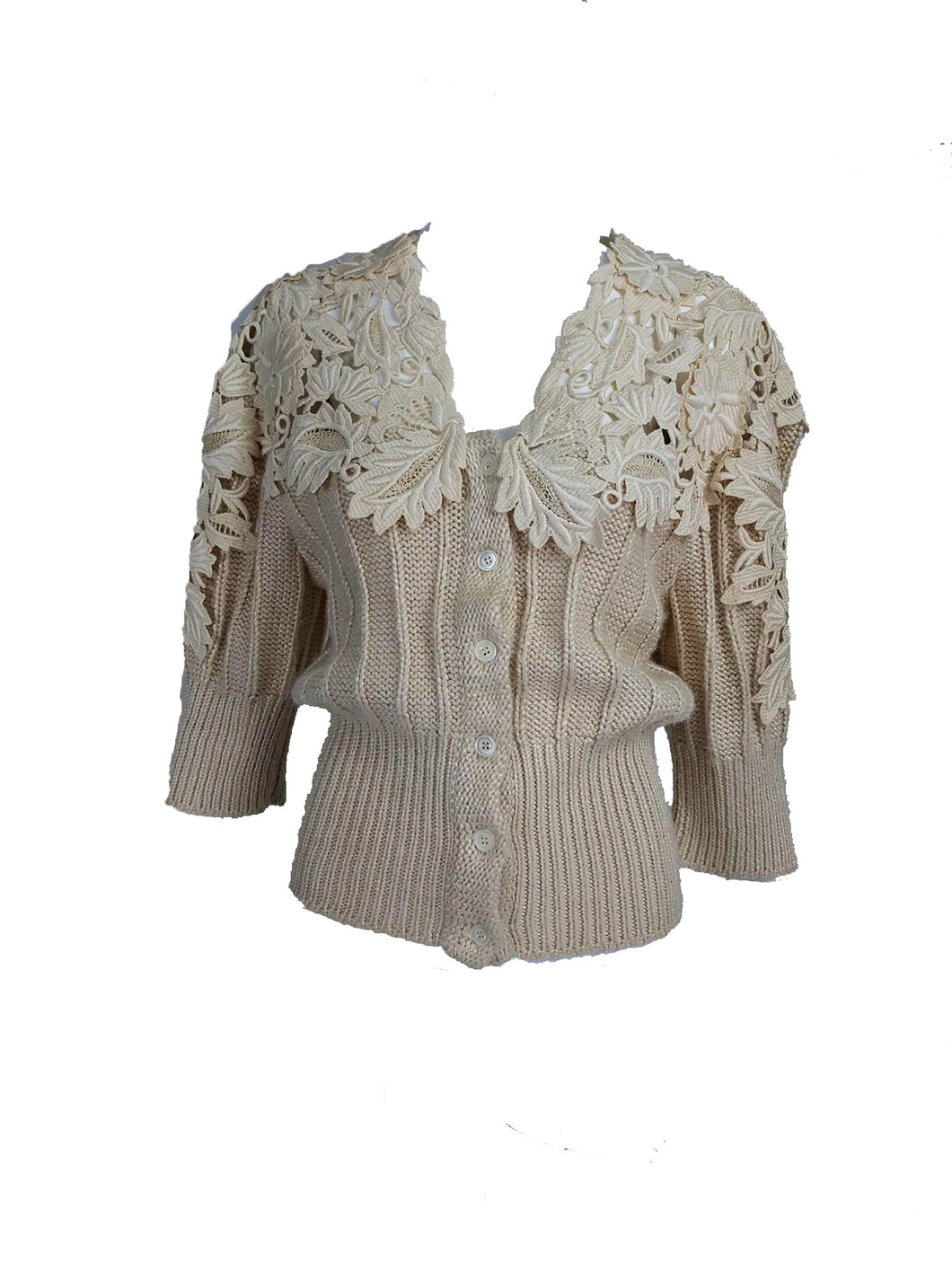 Vintage Chloe Karl Lagerfeld Cream Silk Lace Chunky Sweater 1980s