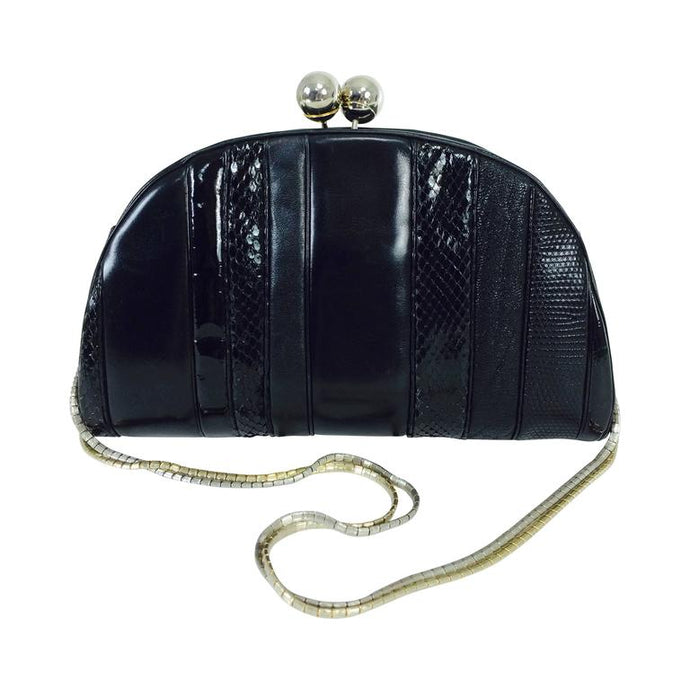 Judith Leiber black leather & snakeskin shoulder bag 1980s