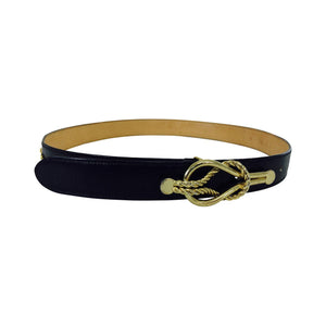 SOLD Gucci black box calf leather belt with gold harness appliques 28