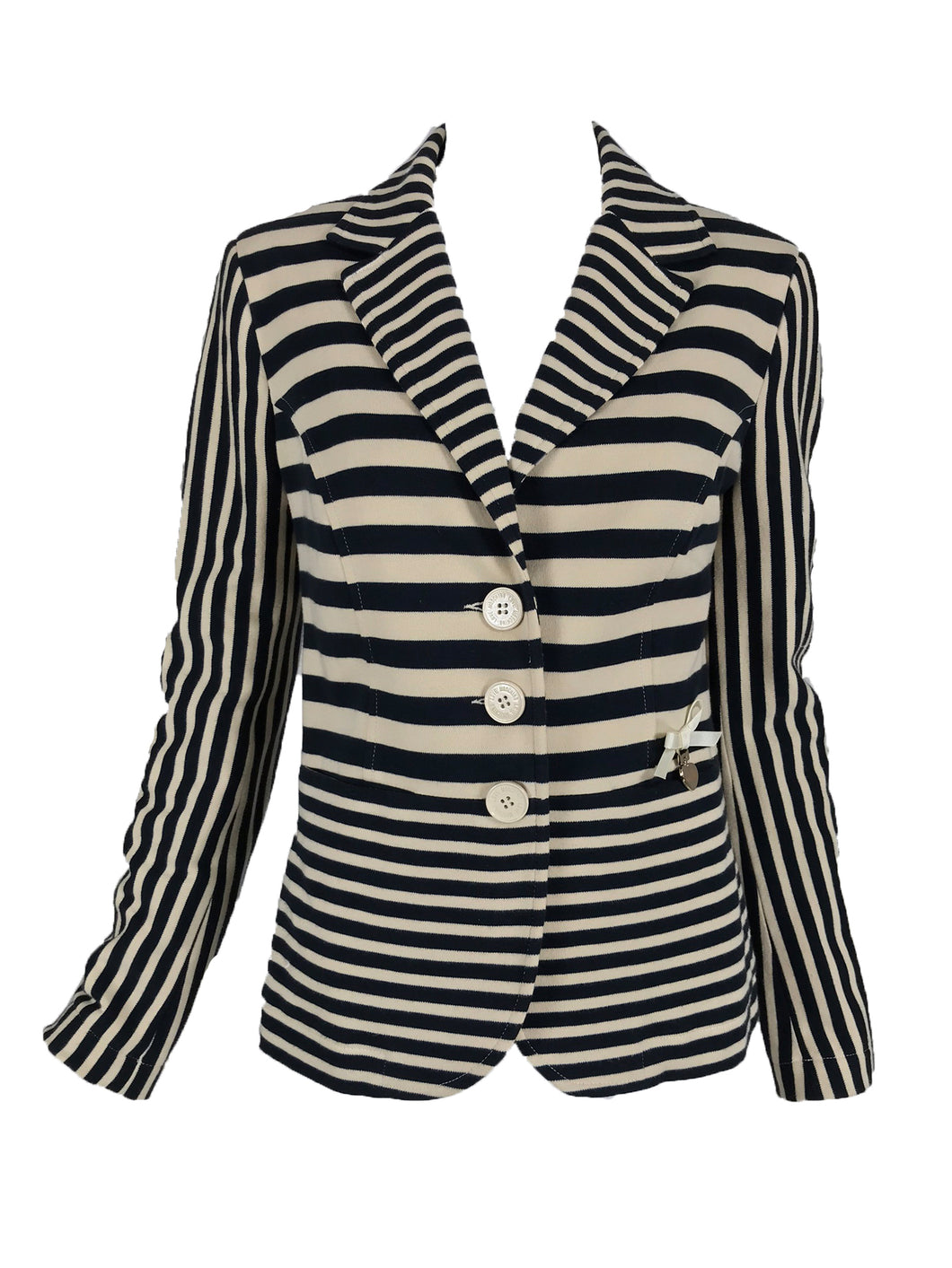 Moschino Black and Off White Stripe Jacket