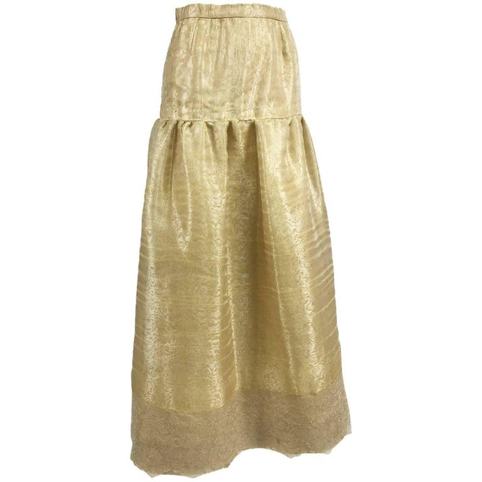 Emanuel Ungaro Studio Couture Gold Ppun Silk Organza Evening Skirt