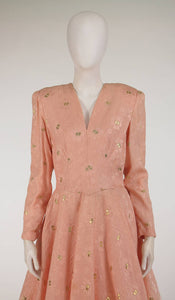 Richilene pink & gold silk cloque cocktail dress 1980s