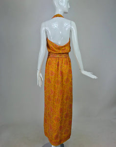 SOLD Treacy Lowe London Floral Silk Print Halter Maxi Dress 1970s