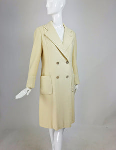 Bill Blass winter white cashmere classic double breasted coat 1970s