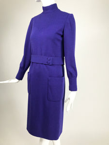 Vintage Norman Norell Heathered Purple Wool Jersey Dress 1960s