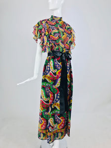 SOLD Joan Leslie for Kasper Paisley Silk Organza 30s Inspired Maxi Dress 1970s