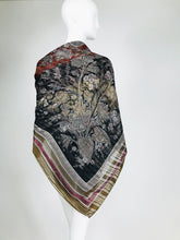 "Valentino Woven Metallic Silk Chiffon Scarf with Abstract Design 1970s 54"" x 54"""