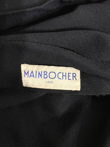 SOLD Mainbocher black crepe and net dress with hood estate of Ruth Gordon 1946
