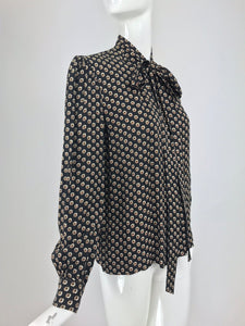 SOLD Yves Saint Laurent Provincial Print Silk Bow Neck Blouse 1970s