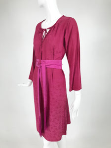 Yves Saint Laurent Silk Jacquard Tunic Dress and Fringe Belt 1970s