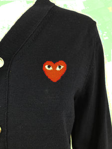 Comme des Garcons Play Dark Navy Blue Cardigan Sweater with Heart