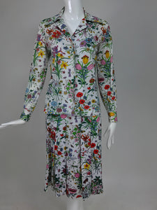 Gucci top and skirt in the Flora print 1970s