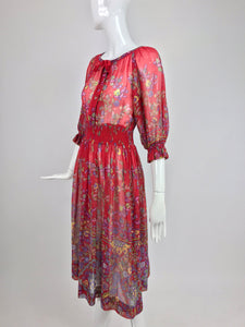 Ted Lapidus floral cotton voile peasant style dress 1970s