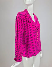 Yves Saint Laurent Fuchsia Polka Dot Silk Blouse 1990s