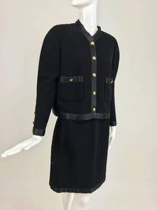 Chanel Black Wool Satin Trimmed Skirt Suit 1990s