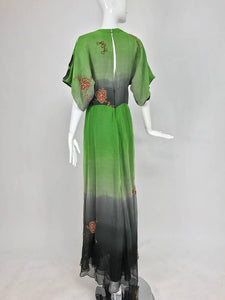 SOLD Thea Porter Couture ombred silk chiffon plunge gown with appliques 1970s