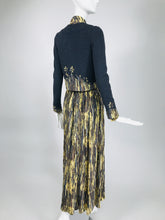 Adolfo Silk 3 pc. Set Print Shirt Pleated Maxi Skirt & Applique Sweater 1970s