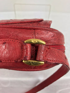 Gucci red ostrich cross body bag 1980s