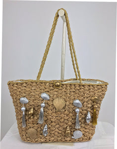 Straw tote bag with real sea shells and tassels large size 1980s