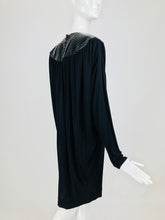 Vintage Marc Bouwer Black Patent and Draped Jersey Statement Dress 1980s