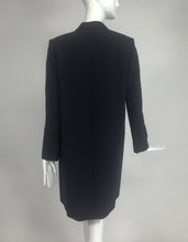 Celine Phoebe Philo 2012 Crombie Coat Dark Blue Wool & Black Satin 34