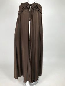 Loris Azzaro Couture Chocolate Brown Silky Jersey Full Length Hooded Cape 1970s