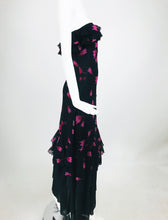 Christian Dior Boutique Paris Tulip print Strapless layered Maxi Dress 1970s