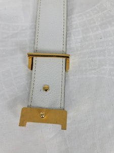 Hermes Gold Constance H Buckle and Tan Cream Belt Vintage 1970s