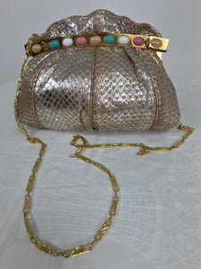 Fiori Silver Coral Faux Snake Jewel Clasp Evening Bag 1980s