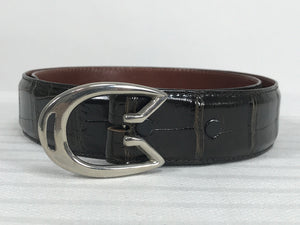 Vintage G Gucci Modernist Silver Horseshoe Buckle & Alligator Belt