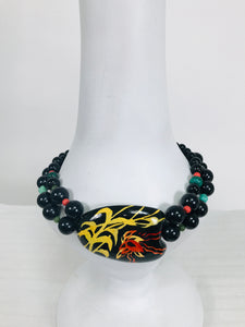 Rafael Sanchez Hand Painted Coconut Shell & Beaded Necklace 1980s