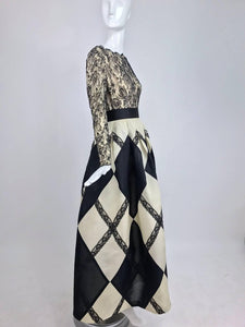 Bill Blass Black and Off White Harlequin Gown 1994
