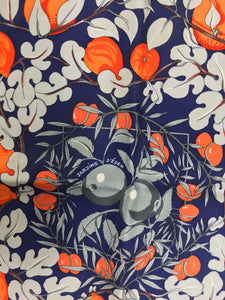 Hermes by Annie Faivre Jardins d'eden silk pocket square