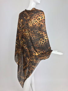 Yves Saint Laurent large leopard silk chiffon shawl scarf