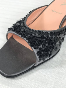Prada Silver Satin & Black Sequin Open Toe Under Slung Heel Mules 38