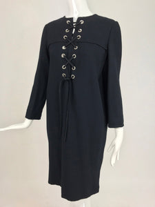 SOLD   Bill Blass Black Wool Crepe Lace Front Dress 1970s