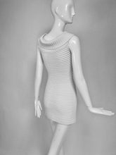 SOLD Chanel White Rib Knit Cowl Neck Bandage Dress 2009